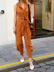 Caramel Casual Lapel Sleeveless Jumpsuits&rompers