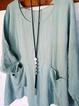 Blue Cotton-Blend Holiday Pockets Shirts Tops