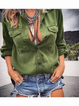 Army Green Shirt Collar Buttoned Pockets Shirts