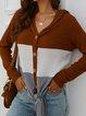 Color-Block Cotton Hoodie Long Sleeve Sweaters