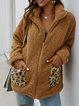 Zipper Leopard Print Long Sleeve Casual Coats