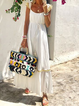 Scoop Neckline White Women Dresses Shift Cotton-Blend Dresses