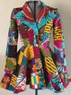 Multicolor Long Sleeve Vintage Buttoned Cotton-Blend Outerwear