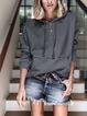Deep Gray Plain Casual Paneled Outerwear