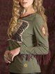 Army Green Cotton Casual Shirts & Tops