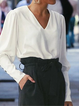 Casual Plain Paneled V Neck Shirts & Tops
