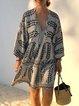 V Neck Beige Women Dresses Holiday Linen Paneled Dresses