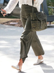 Army Green Cotton-Blend Outdoor Pants