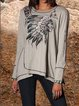Boho Printed Long Sleeve Cotton-Blend Shirts & Tops