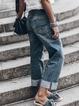Blue Asymmetric Denim Plain Outdoor Pants