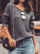 Deep Gray V Neck Solid Casual Long Sleeve Sweater