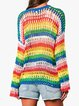 Multicolor Striped Acrylic Long Sleeve Sweaters
