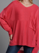 Red Pockets V Neck Solid Long Sleeve Shirts Tops