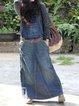 Dark Blue Denim Sleeveless Plain Paneled Skirts