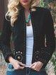 Black Corduroy Long Sleeve Rivet Outerwear