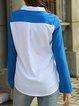 White Striped Elegant Color-block Shirt Collar Chiffon Plus Size Shirt