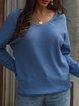 Solid Long Sleeve Knitted V Neck Sweaters