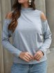 Solid Casual Long Sleeve Cutout Turtle Neck T-Shirt