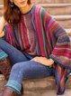Multicolor Batwing Patchwork Round Neck Outerwear