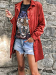 Red Pockets Cotton-Blend Casual Shirt Collar Outerwear