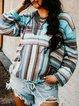 Multicolor Long Sleeve Color-Block V Neck Cotton-Blend Shirts & Tops