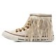 White Cloth Winter Tassel Flats