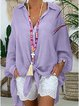 V Neck Long Sleeve Buttoned Down Blouses