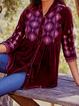 Printed Long Sleeve Velvet Boho Shirts Tops