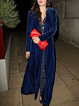 Navy Blue Velvet Long Sleeve Outerwear