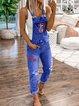 Women's Casual Holiday Ripped  Denim Bib Pants