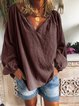 V Neck Cotton Solid Long Sleeve Emerald Green Shirts & Tops