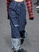 Blue Denim Vintage Solid Pockets Pants With Belt