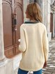 Long Sleeve Cotton Turn-down Collar Solid Pockets Winter Sweater
