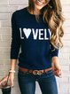Plus size Casual Cotton Letter Shirts & Tops