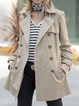 Khaki Casual Solid Shawl Collar Outerwear