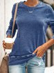 Summer Round Neck Long Sleeve Casual Cotton-Blend Patchwork Shirts & Tops