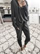 Plain Two Piece Casual Women Knitted Suits