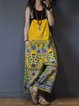 Sleeveless Denim Floral-Print Jumpsuit