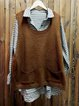 Brown Sleeveless Knitted Plain Pockets Sweaters