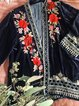 Black 3/4 Sleeve Coral Velvet Floral Shift Outerwear