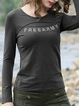 Green Casual Letter Long Sleeve Shirts Tops