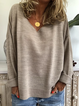 Beige Knitted Long Sleeve Casual Plus Size Sweater
