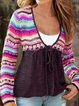 V Neck Tribal Knitted Long Sleeve Sweater