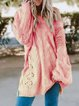 Hollowed Long Sleeve Knitted Off Shoulder Patchwork Sweater