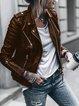 Black Faux Leather Shirt Collar Zipper Vintage Outerwear