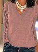 Gray Plain Cotton Long Sleeve Shirts & Tops