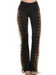 Black Paneled Geometric Casual Cotton-Blend Pants