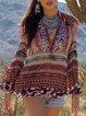 Multicolor V Neck Boho Printed Long Sleeve Plus Size Tops