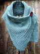 Sky Blue 3/4 Sleeve Shift Casual Scarves & Shawls