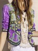 Plus Size Long Sleeve Geometric Boho Outerwear